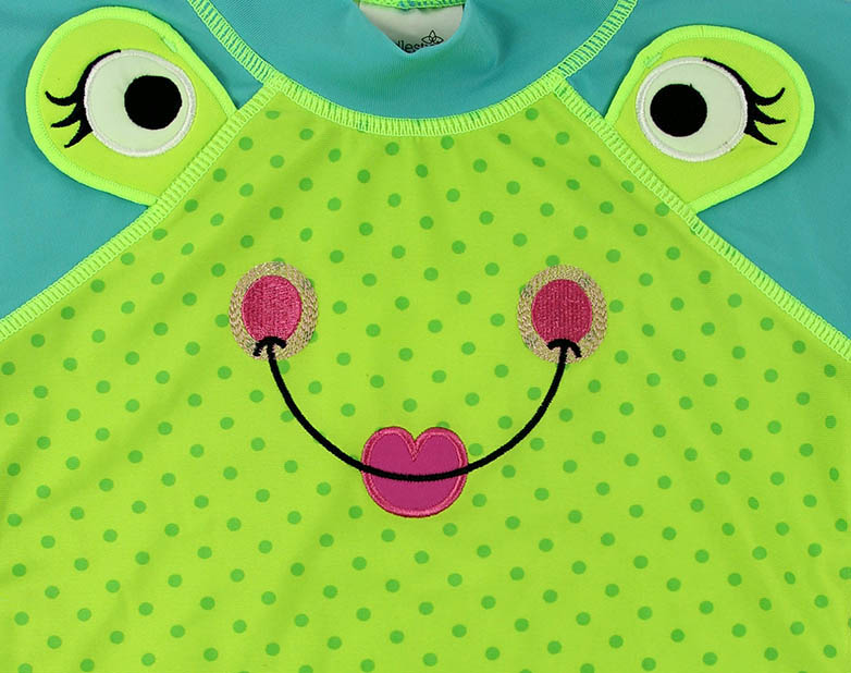 Cute frog infant girls rashguards