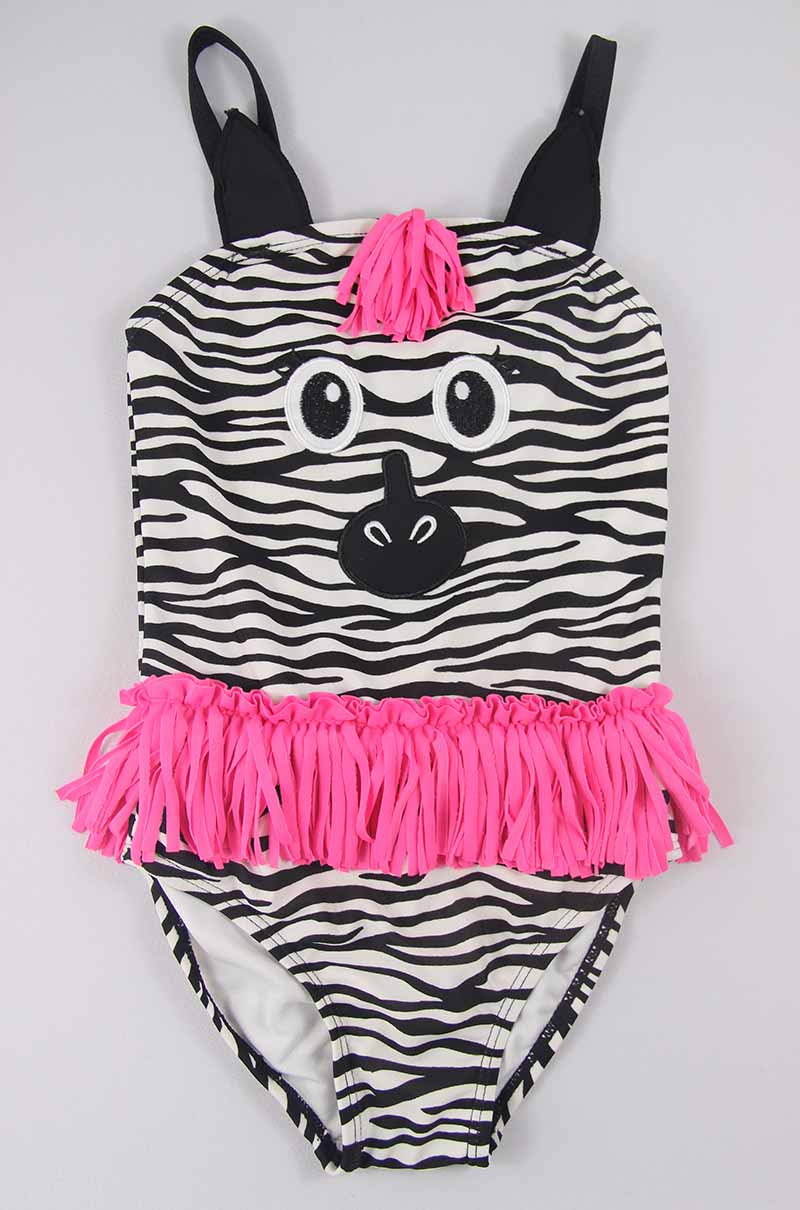 Zebra girls one piece swimwear