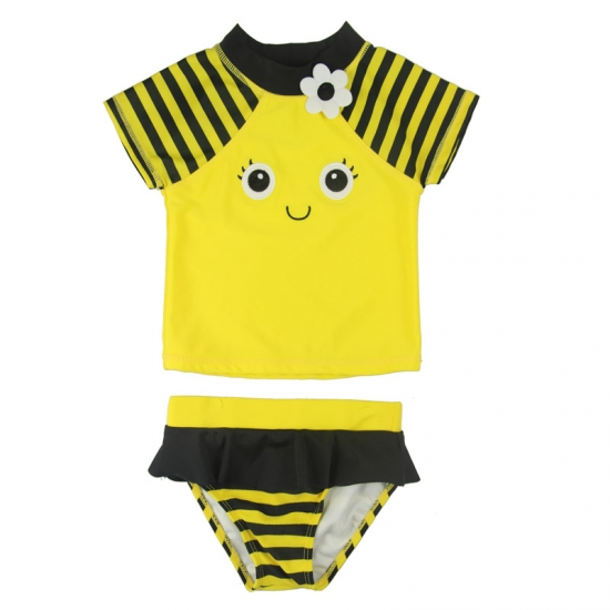 Lovely bee baby girl rash guards